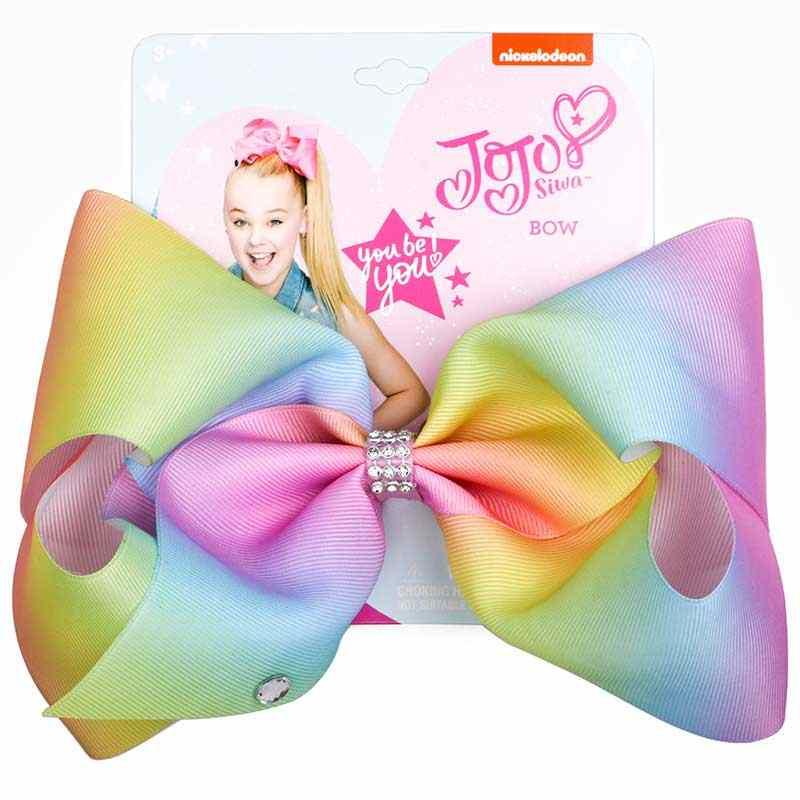 """8 """"JoJo бант зажим для волос ободок с большим бантом дети ручной работы металлического печатных узел из лент Jumbo JOJO SIWA аксессуары для волос для девочек"""