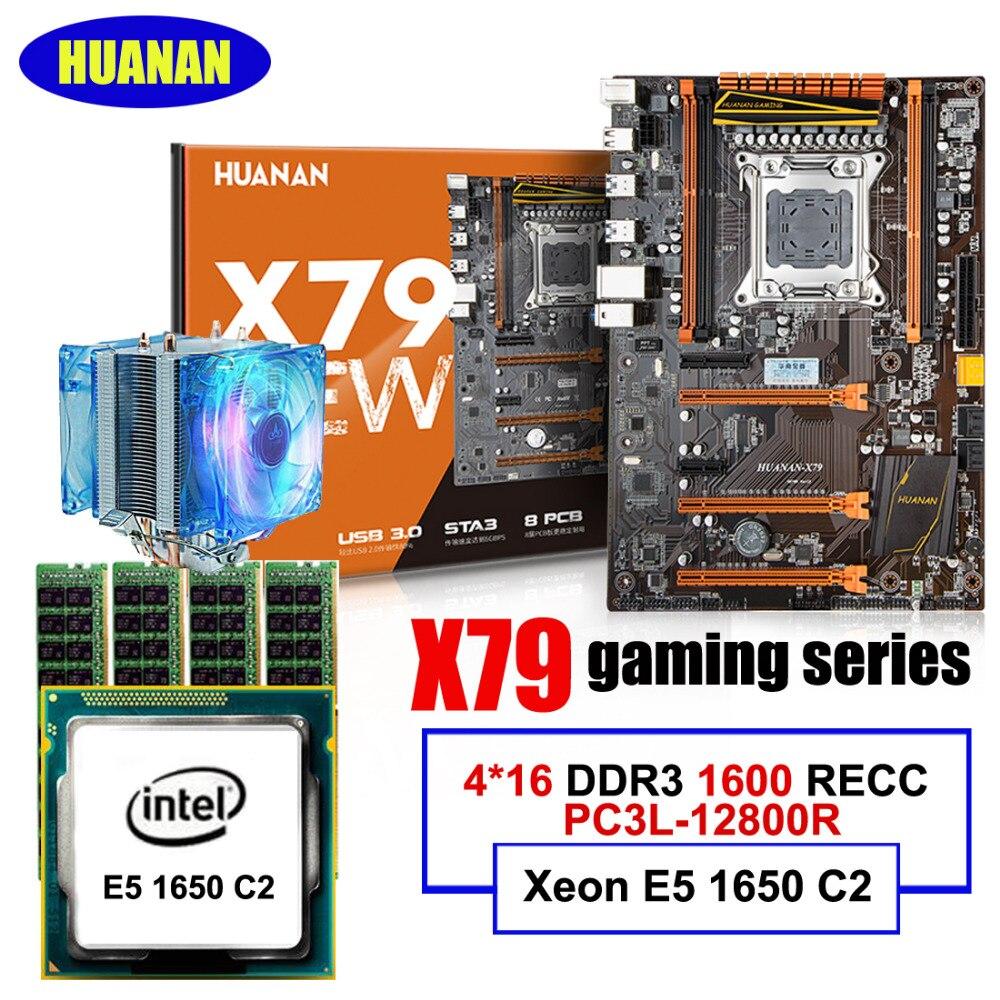 Recommend! HUANAN deluxe X79 LGA2011 gaming motherboard set Xeon E5 1650 C2 RAM 64G(4*16G) DDR3 1600MHz RECC CPU cooler g41 motherboard 3 0cpu fan 2g ram set dual core set motherboard set cpu775 100