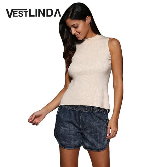 VESTLINDA Calções Mulheres Street Style Elastic Cintura Sólidos Denim Shorts Casual Calças Curtas Para Femme Shorts Jeans Plus Size