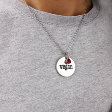 Jewelry Stainless Steel Chain necklace Round Lettering Vegan Crystal Pendant  Charm