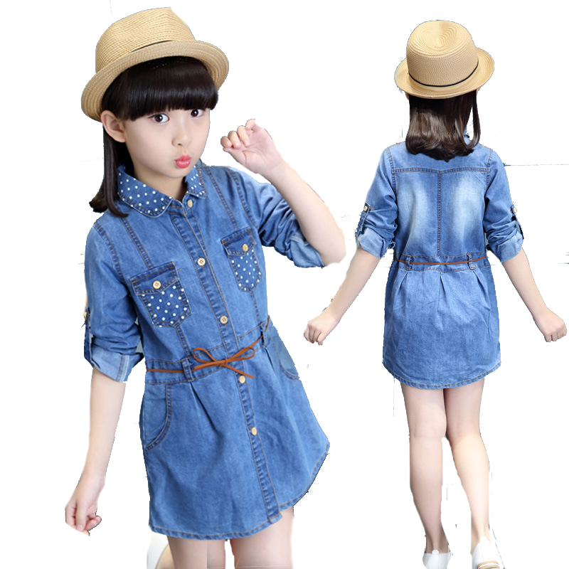 Teenage Kids Dresses For Girls Blouses Polka Dot Denim Dress Shirtdress Long Sleeve Children Shirts 4 5 7 9 11 13 14 Years