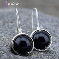 [Anslow] Fashion Jewelry Quality 10mm Black Agate Natural Stone Silver  Handmade DIY Bijoux Earrings Gift Free Shipping AN0005E