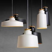 Creative Wood E27 Pendant Lights  110V 220v for Personality Decor & Metal lampshade Hanging lamp white black Luminaire