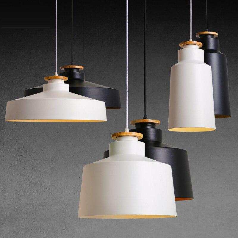 Creative Wood E27 suspension lumières 110 V 220 v pour personnalité décor bois & métal abat-jour suspension lampe blanc noir Luminaire