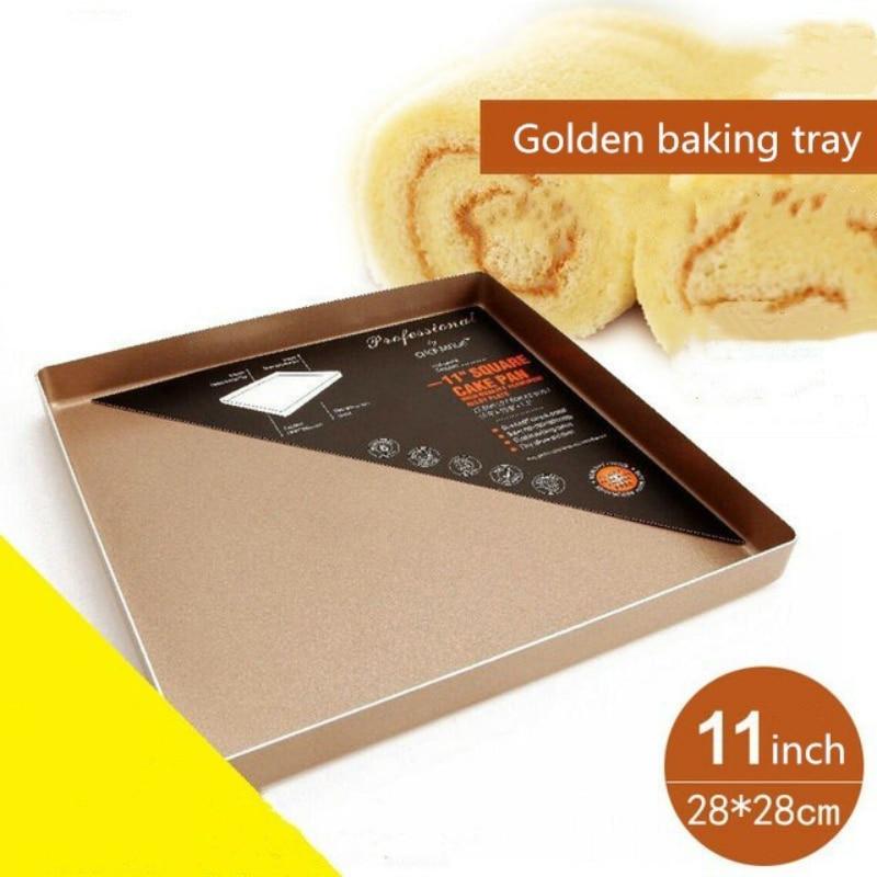 28*28 Baking Pan Tray Non-stick Champagne Gold 11 Inch Square Aluminium Plate Bread Cake Cookie Oven Dish Kitchen Accessories