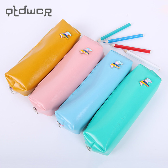 1PC Candy Color Horse Pencil Case Office Stationery Waterproof PU Leather Storage PencilCase for School Students Supplies
