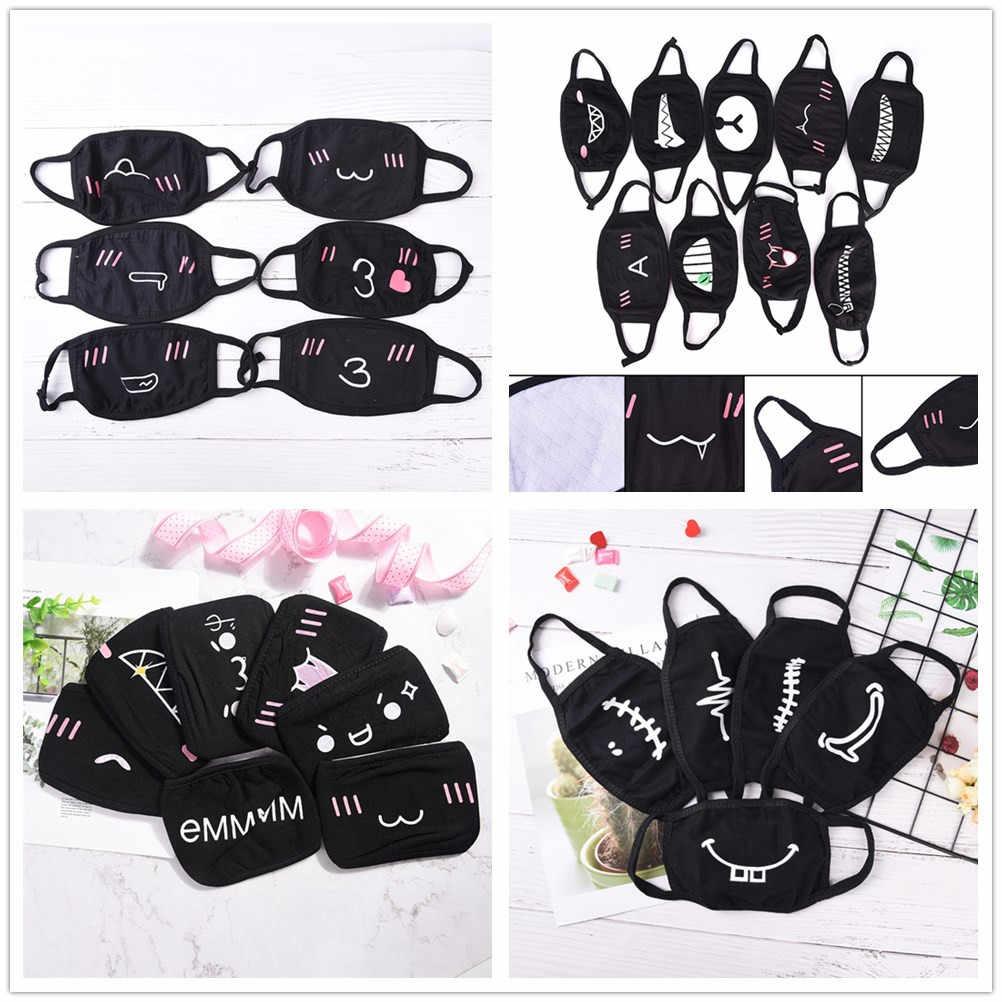 Kaliteli siyah Unisex karikatür sıcak kalınlaşma maskeleri siyah pamuk yarım yüz maskesi komik dişler mektup ağız