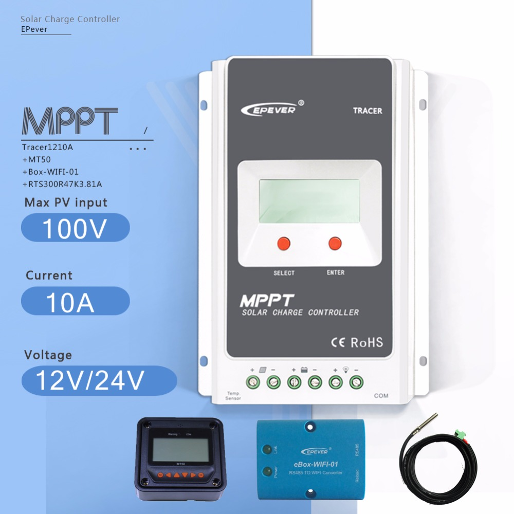 MPPT 10A Tracer 1210A Solar Charge Controller 12V/24V Auto PV Regulator with MT50 Meter Ebox WIFI Module and Temperature Sensor 10a mppt solar charge controller remote meter mt50 epever battery regulator 100v pv input 12v 24vdc auto with lcd display
