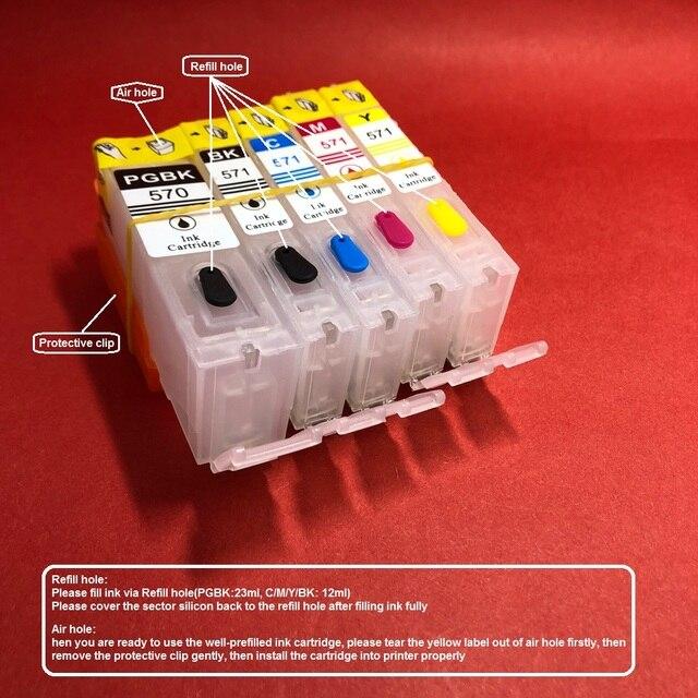 YOTAT 5pcs Refillable ink cartridge PGI-570 CLI-571 for Canon PIXMA MG5750 MG5751 MG5752 MG5753 MG6850 MG6851 MG6852 MG6853