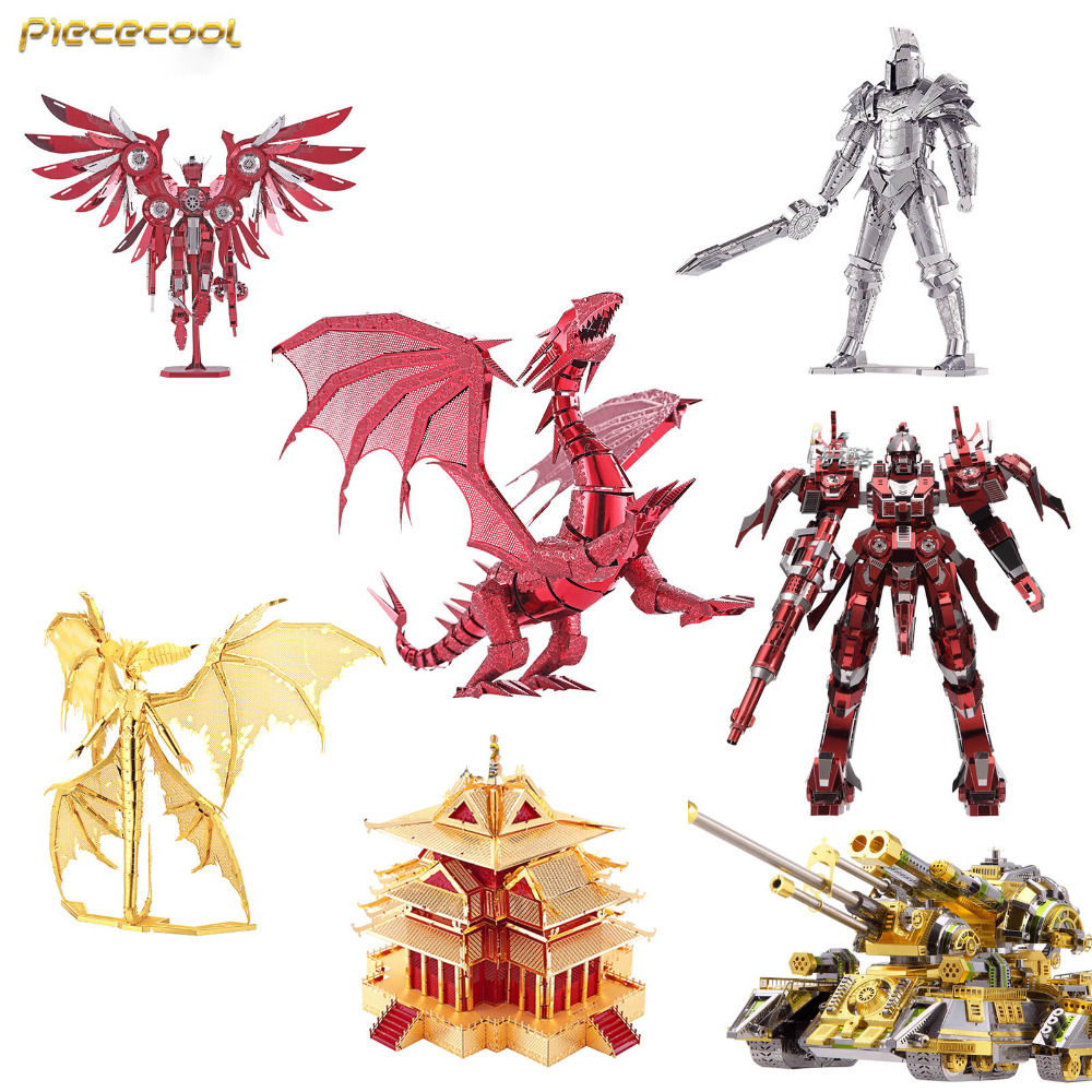 Piececool 3D montaje de Metal Thunder Red Crane Black Knight Flame Dragon Hurricane Warrior modelo puzle juguetes creativos niños