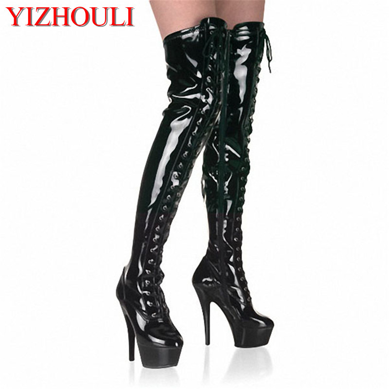 15cm High-Heeled Shoes Strap Tall Boots Platform Clubbing Exotic Dancer Boots Hasp 6 Inch Sexy Womens Gladiator Thigh High Boots 20cm pole dancing sexy ultra high knee high boots with pure color sexy dancer high heeled lap dancing shoes