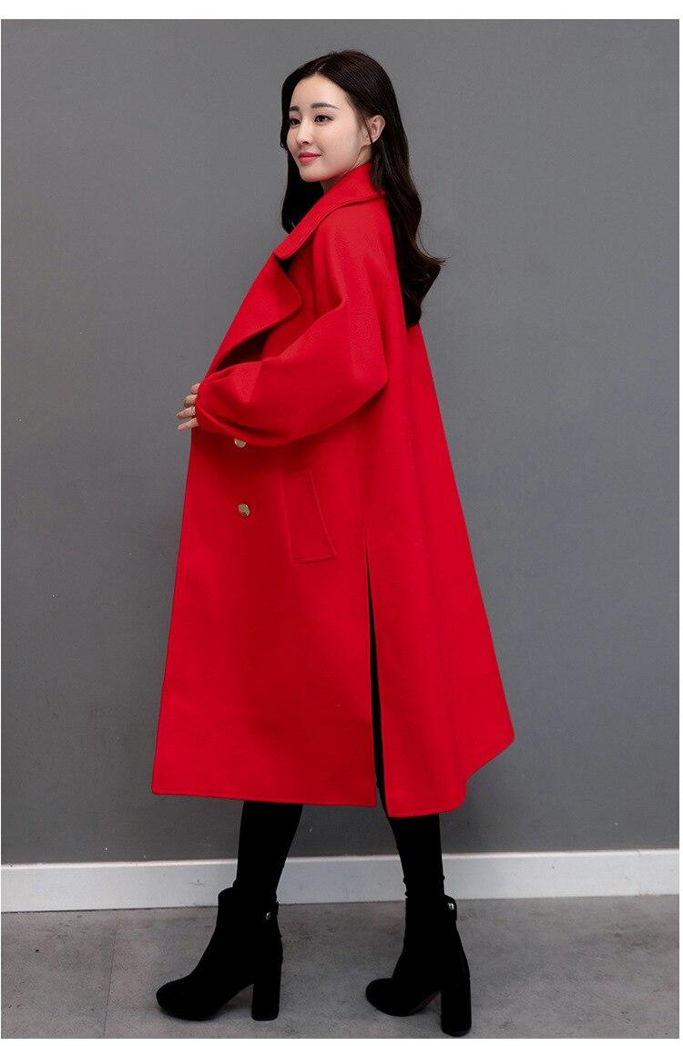 Décontracté Longues Cachemire D'hiver Veste Rouge Femmes Solide Taille Laine 2018 Manteau Col Breasted down Double Turn Large À De Poches rq4Ar