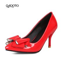 лучшая цена 2019 New Women Shoes Bow Knot High Heels Fashion Patent Leather Thin High Heels Pumps Slip On Pointed Party Dress Shoes Female