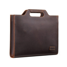 лучшая цена New Genuine Leather Men's Handbags Retro Crazy Horse Leather Man Shoulder Messenger Business Briefcase Laptop Bag