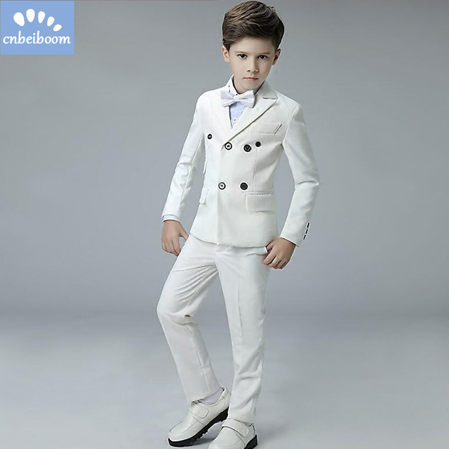01b5ad5ca417 White Baby Boys Party Wedding Suits 4 Pieces Formal Tuxedo blazer Suit  Children Baptism Party Clothing Set For kids 3-12 T dress