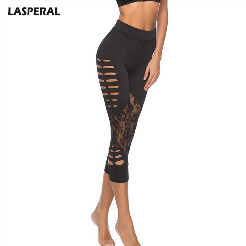 LASPERAL Fashion Lace Patch Hollow   Leggings   Women Fitness   Leggings   Pants Mid-Calf Casual Black   Leggings   2019 New Arrive