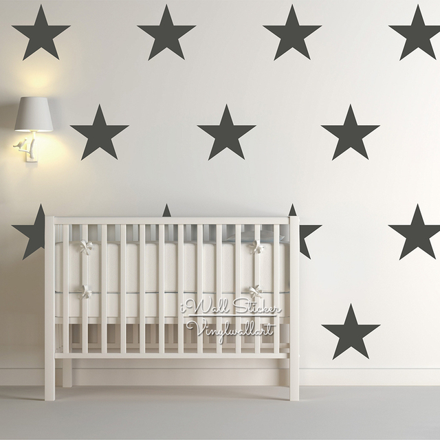 25cm Stars Wall Decals Kids Room Stars Wall Art Sticker DIY Children Room  Decor Removable Easy