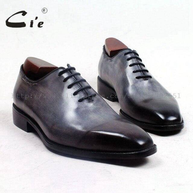 Cie vierkante vlakte teen hele cut patina grijs 100% echt kalfsleer zool ademende mannen schoen bespoke lederen mannen schoen ox509