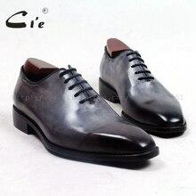 Zapatos de hombre de cuero a medida con suela de 100% auténtica de Piel De Becerro gris con punta plana cuadrada cie, zapatos de hombre transpirables ox509