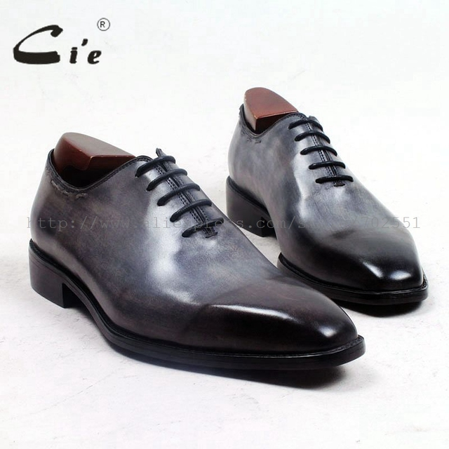 cie square plain toe whole cut patina grey 100%genuine calf leather outsole breathable mens shoe bespoke leather men shoe ox509