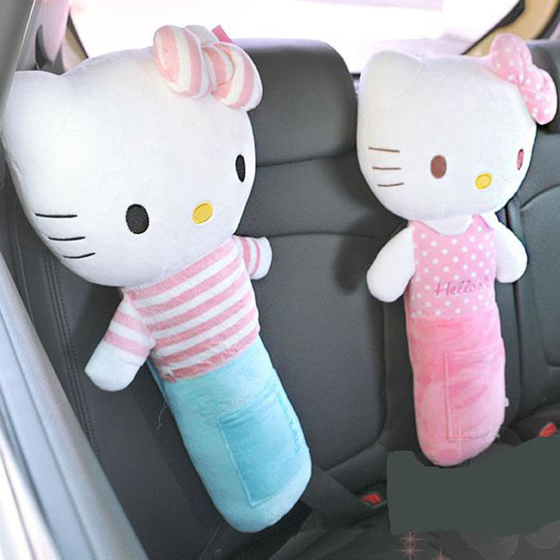 Cartoon Hello Kitty Seat Belt Cover PP Cotton Auto Belt Covers For Kids Pink Safety Seat Belt Shoulder Pads Car Accessories