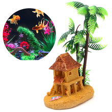 1PC Coconut Tree Castle Aquarium Decoration Polyresin Artificial Plants Aquario Simulation Background
