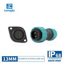 IP68 Waterproof  Aviation Connector 13mm diameter 1/2/3/4/5/6/7 pin Sealed Junction Boxes Male Female Plug Socket