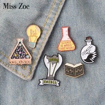 Magic Science enamel pin Light bulb No Idea Chemical Beaker badge brooch Lapel pin Denim Jeans shirt bag Cartoon Jewelry Gift 1