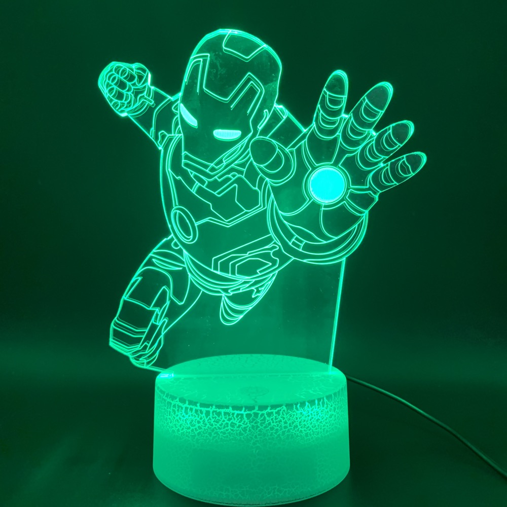 Novelty Lights Marvel Iron Man Figure Office Room Decor Table Lamp Cool Kids Gift Child Ironman 3d Optical Led Night Light Lamp