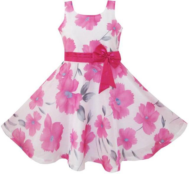 Sunny Fashion платья для девочек Розовый Цветочный Вечеринка Свадьба