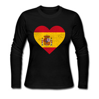 High Quality Spain Flag Heart Spanish T Shirts Women O Neck Long Sleeve Tees Fitness Fashion
