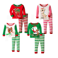 1-4T Kids Clothes Christmas Pajamas Long Sleeve Pullover Striped cartoon Sports Suit children Casual toddler Boys Clothing Set