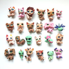 24 pcs/lot LPS Cartoo Vinyl Toy Dolls Pet Action Figures Unicorn Kitty Dogs Mini Birthday Toys for Children Animals Sets