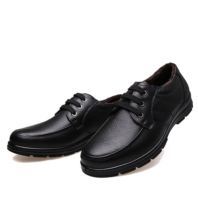 NPEZKGC 2018 New Cow Leather Casual Shoes Winter Men Loafers Slip On Fashion Driving Loafer Moccasins Plush Men Shoes