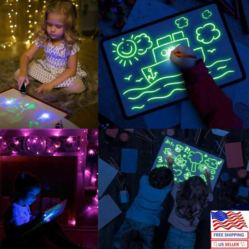 Fun Educational AU Drawing Pad 3D Magic 8 Light Effects Puzzle Board Sketchpad Tablet Creative Kids Pen Gift LEDs Glow Art Toys