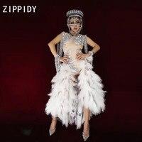 Модные Серебряные стразы жемчуг облегающий костюм с жемчужинами одежда из перьев женская Одежда для танцев праздничный наряд для ночного к