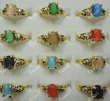 300 шт цельные золотые кольца «кошачий глаз» для женщин бесплатная