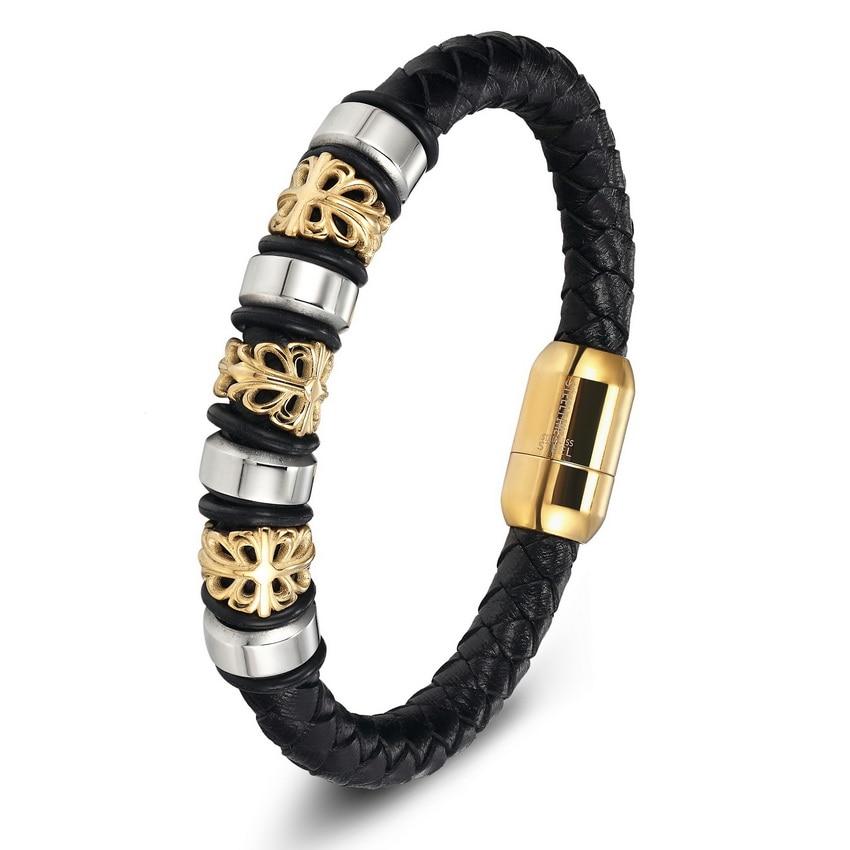 Gold Genuine Leather Stainless Steel Bracelets For Women Bracelets & Bangles Trendy Men Jewelry Fashion Charm Leather Bracelet