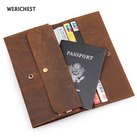 Travel Genuine Leather Wallet Passport Cover Cowhide Card Holder Multifunctional Storage Ticket Flights Clips Travel Wallet