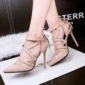 Бесплатная доставка Весна и Осень полый крест ремешок туфли на высоком каблуке с тонкими отметил обуви мелкая рот Римские сандалии