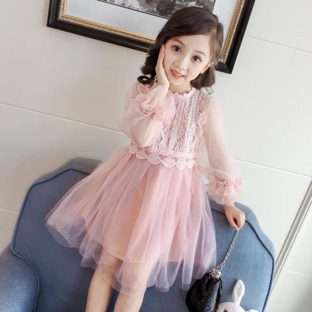 49f6e1fe0 € 10.8 43% de DESCUENTO|Primavera otoño niña vestido de encaje ropa para  niños vestidos para niñas princesa fiesta cumpleaños manga larga bebé ...