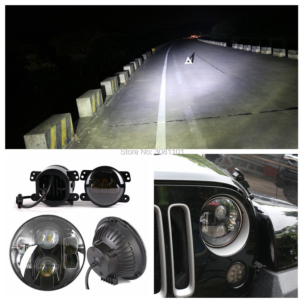 7 inch high/low beam led Headlight Auto for jeep projector +4 led fog lamp amber beam for 2011 grand Cherokee overland WK2 black chrome round 75w high low beam drl led auto headlight driving fog lights for jeep wrangler hummer h1 h2 offroad