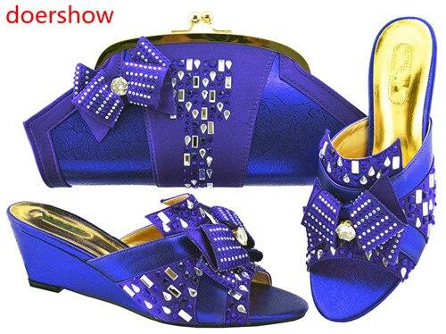 Doershow 2018 nouvelles chaussures italiennes assorties et sac ensemble Style africain dames MAGENT chaussures et sac pour correspondre à la robe de mariée! HH1-13 - 5
