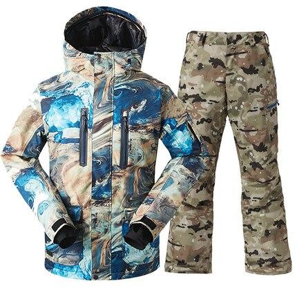 GSOU SNOW nouveau costume de Ski pour hommes hiver coupe-vent chaud épaississement imperméable veste de Ski + pantalon de Ski pour hommes