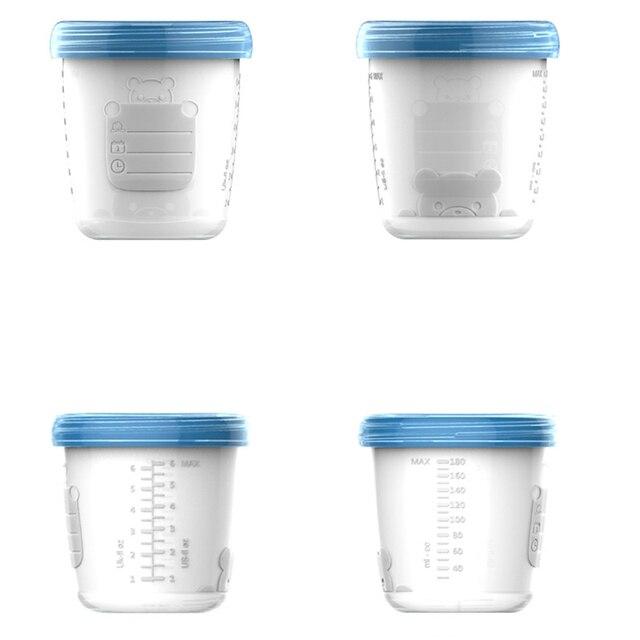 4 Pieces/Set 180ml Breast Milk Storage Bottle Wide Neck Infant Newborn Food Freezer Fresh Cup BPA Free Products NBB0034