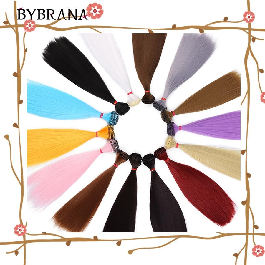 Bybrana 15cm*100cm Doll Colorful BJD WIG DIY Synthetic Fiber Straight BJD Hair For Dolls