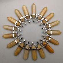 Модный натуральный камень желтый оникс Кристалл столб подвески