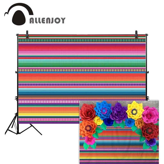 Allenjoy taco party photography background Mexican carnival cinco de mayo serape colorful stripe decor backdrop photocall prop