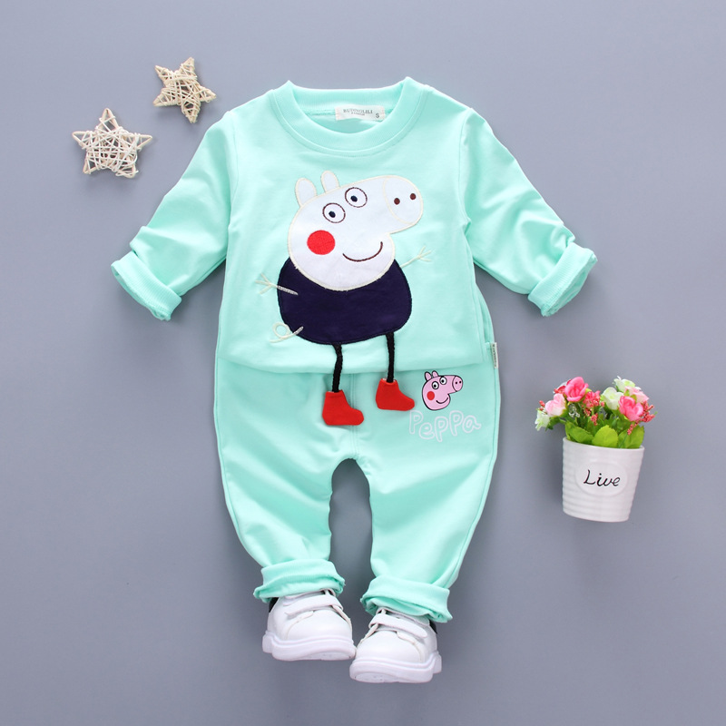 Fashion Baby Clothing Girls Clothes Sets 2017 Spring Cotton Cute Cartoon Pig Pullovers Sport suit Long Sleeve kids Boys clothing kids spring 2017 new fashion korean wave point clothing set baby girls cute cotton clothes suit childern cartoon 3pcs suit