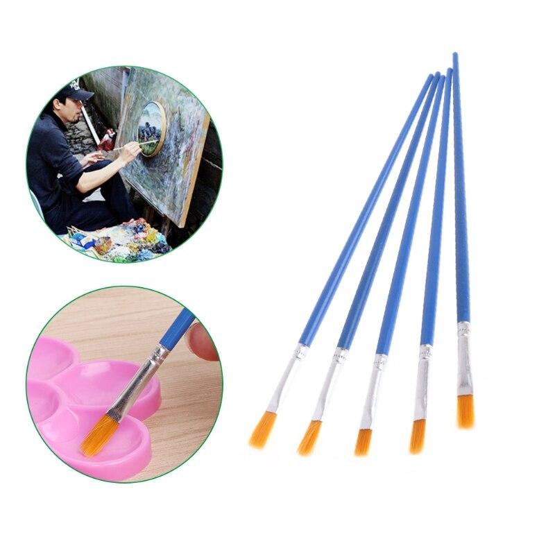 5Pcs Artist Nylon Hair Brush Flat Pointed Head Paint Gouache Set Oil Painting Paint Brushes